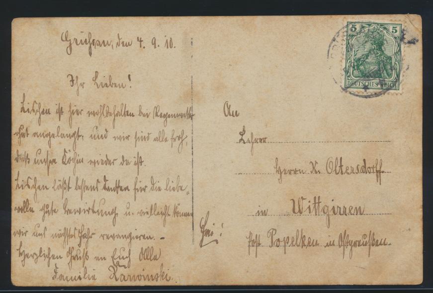Ansichtskarte Grüssau Krzeszów Schlesien Wittgirren Post Popelken Ostpreussen 1