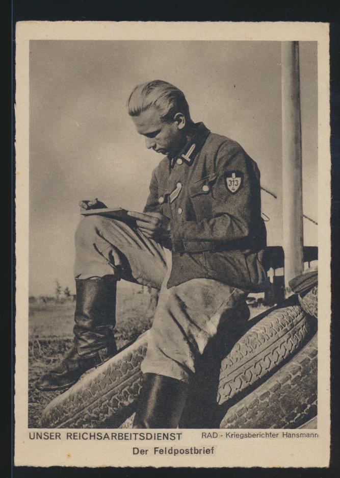 Ansichtskarte 2 Weltkrieg Reichsarbeitsdienst RAD Kriegsberichter Hansmann 0