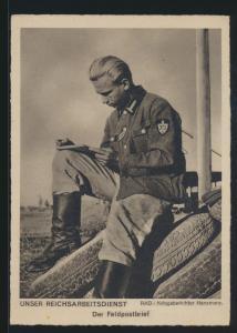 Ansichtskarte 2 Weltkrieg Reichsarbeitsdienst RAD Kriegsberichter Hansmann