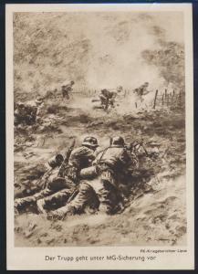 Ansichtskarte 2 Weltkrieg Der Trupp geht unter MG-Sicherung PK Kriegsberichter
