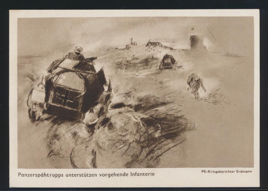 Ansichtskarte 2 Weltkrieg Panzerspähtrupp unterstützen Infanterie  0