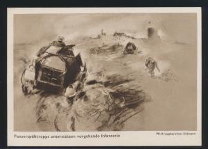 Ansichtskarte 2 Weltkrieg Panzerspähtrupp unterstützen Infanterie