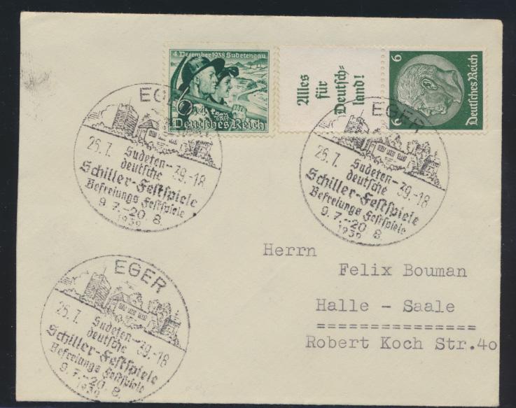 Reich Sudetenland Brief Zusammendruck 3x schöner SST EGER Schiller Festspiele  0