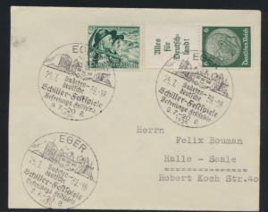 Reich Sudetenland Brief Zusammendruck 3x schöner SST EGER Schiller Festspiele