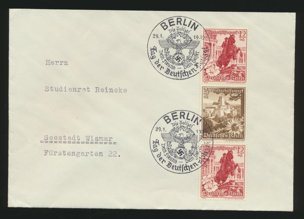 Reich Brief WHW Zusammendruck 3x seltener SST Berlin Polizei nach Wismar  0