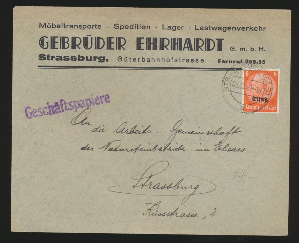 Deutsche Besetzung Elsaß Brief EF Hindenburg Geschäftspapiere Gebr. Ehrhardt 0