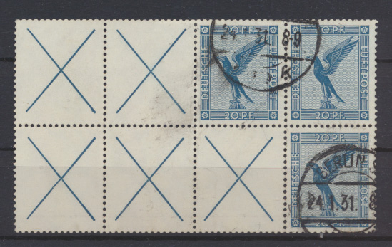 D. Reich Flugpost Zusammendruck  W 21.2 + 21.3 gestempelt Berlin Kat.Wert 350,00 0