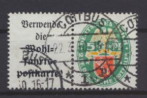 Deutsches Reich Zusammendruck Nothilfe Wappen W 34 sauber gestempelt Kat. 80,00