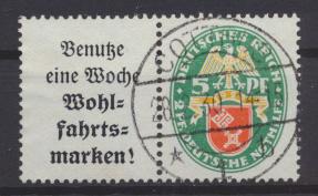 Deutsches Reich Zusammendruck Nothilfe Wappen W 35 sauber gestempelt Kat. 80,00