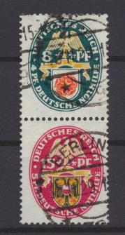 Deutsches Reich Zusammendruck Nothilfe Wappen S 68 sauber gestempelt Kat. 16,00 0