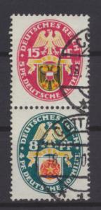 Deutsches Reich Zusammendruck Nothilfe Wappen S 70 sauber gestempelt Kat. 35,00