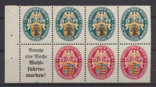 D. Zusammendruck Heftchenblatt Nothilfe Wappen HB 65 B postfrisch MNH Kat.600,00 0