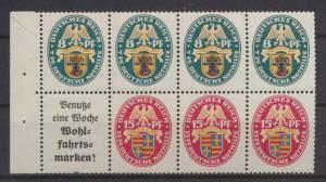 D. Zusammendruck Heftchenblatt Nothilfe Wappen HB 65 B postfrisch MNH Kat.600,00