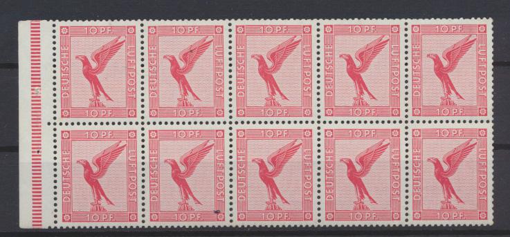 D. Reich Zusammendruck Flugpost Adler Heftchenblatt HB 46 B postfrisch Kat 500,- 0