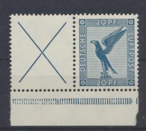 Deutsches Reich Zusammendruck Flugpost Adler W 21.1 postfrisch Kat.Wert 70,00