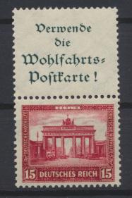 Deutsches Reich Zusammendruck Nothilfe Bauten S 84 postfrisch Kat.-Wert 150,00
