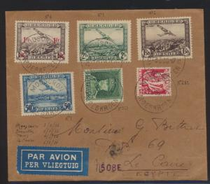 Flugpost air mail Belgien via Paris Frankreich nach Kairo Cairo Ägypten