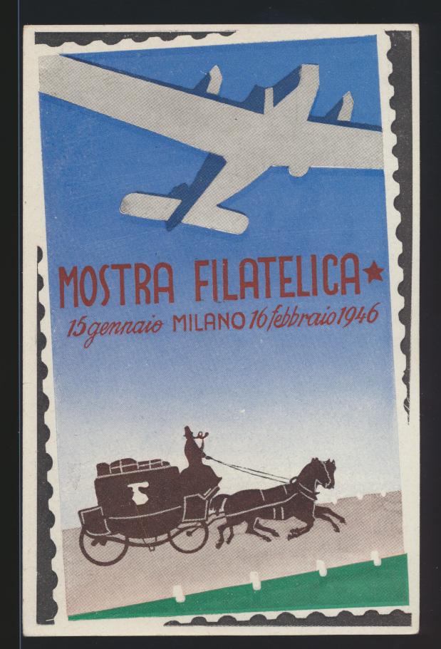 Flugpost air mail Italien tolle Flugkarte Philatelie Mailand Mostra Milano 1946 0