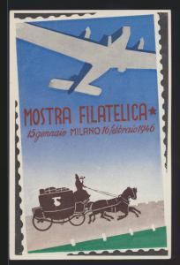 Flugpost air mail Italien tolle Flugkarte Philatelie Mailand Mostra Milano 1946