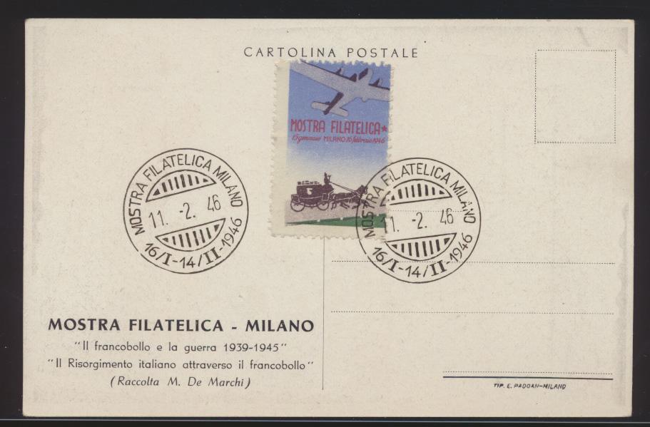 Flugpost air mail Italien tolle Flugkarte Philatelie Mailand Mostra Milano 1946 1