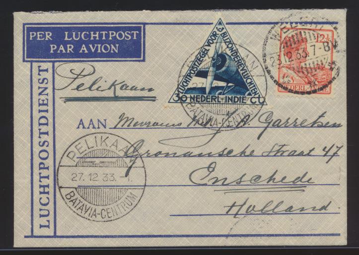Flugpost air mail Niederländisch Indien Erstflug Batavia Amsterdam Weleri nach  0