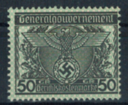 D Reich Besetzung Vignette Generalgouvernement 50 Gr Gerichtskostenmarke postfr. 0