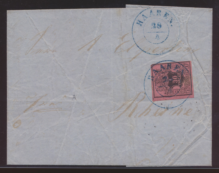Altdeutschland Hannover Brief EF 3 blauer K2 HAAREN nach Rheine 0