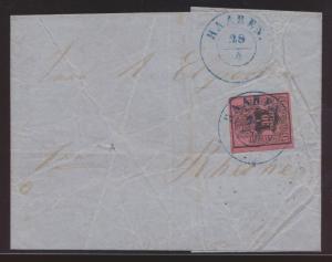 Altdeutschland Hannover Brief EF 3 blauer K2 HAAREN nach Rheine