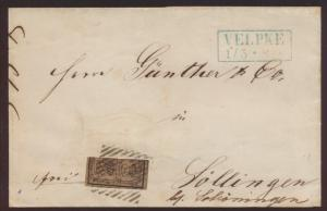 Altdeutschland Braunschweig Brief MEF 9 Nrn. 44 bl. R 2 VELPKE Söllingen bei