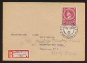 Besetzung D. Reich R Brief  EF 887 SST Amsterdam Sonder R Zettel Luftgaupostamt