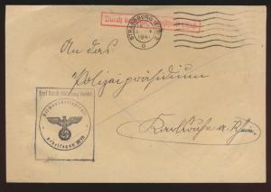Besetzung Deutsche Dienstpost Elsaß Brief Arbeitsgau XXVII Straßburg Frei durch