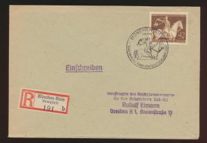 Deutsches Reich Brief EF 854 Galopprennen Das braune Band SST München n. Dresden