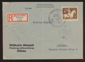 Deutsche Reich Brief EF 854 Galopprennen Das braune Band SST München n. Zittau
