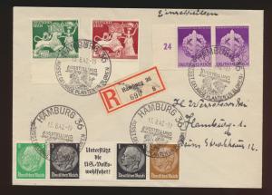 Deutsche Reich R Brief schöne Frankatur + Zusammendruck 4 saubere SST Hamburg