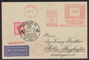 Flugpost D. Reich Brief Drucksache Absenderfreistempel Mophila Hamburg plus