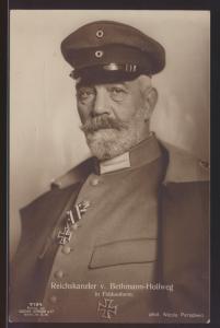 Bahnpost Militaria Foto Ansichtskarte Reichskanzler v. Bethmann Hollweg Hamburg