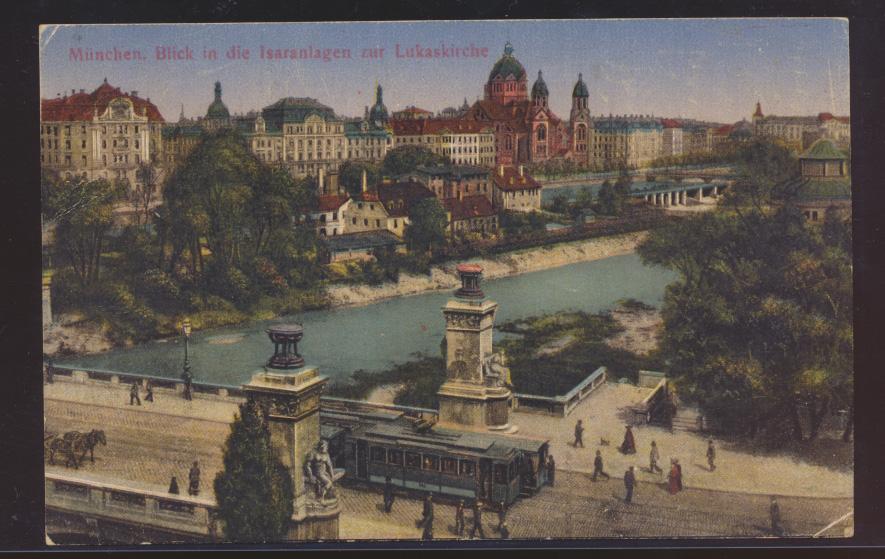 Ansichtskarte München Isaranlage Lukaskirche Deutsches Reich MEF 120 0