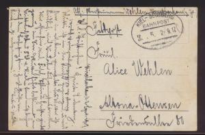 Bahnpost Ansichtskarte Kiel Segeberg Zug 5 2.9.1917 n. Altona Ottensen Reklame