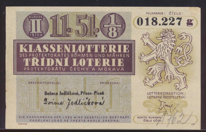 Banknote Geldschein besser Lotterie Schein Böhmen & Mähren Ziehung 20.7.1944 0