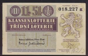 Banknote Geldschein besser Lotterie Schein Böhmen & Mähren Ziehung 20.7.1944