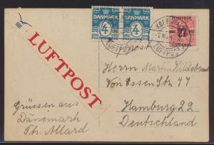 Flugpost air mail Dänemark Hamburg Ansichtskarte Oskaar Sabo nach Hamburg