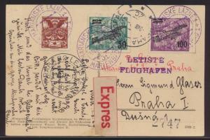 Flugpost air mail Tschechoslowakei Express ab Marienbad n Prag auf Ansichtskarte