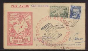 Flugpost air mail Spanien Brief Madrid Buenos Aires Argentinien mit Best. + Ank.