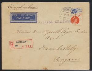 Flugpost air mail Niederlande R Brief Dordrecht nach Szombathhely mit rs. K2