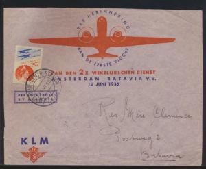 Flugpost air mail Niederlande dekorativer Brief Amsterdam Batavia Ostindien