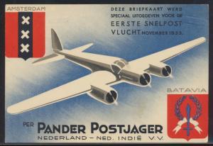 Flugpost air mail tolle Flugkarte Niederlande Pander Postjager Grafenhage Den Haag