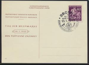 Besetzung Böhmen & Mähren 113 Tag der Briefmarke auf Karte als FDC 10.1.1943