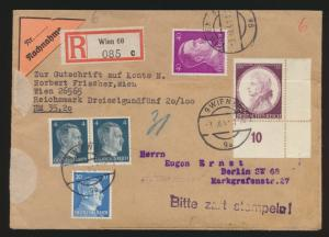 Österreich Deutsches Reich Nachnahme Brief MIF mit Bogenecke 2 Länder Ostmark