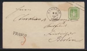 Hamburg Ganzsache U 6 mit K2 und L1 Franco rs. blauer Oval Briefkastenstempel