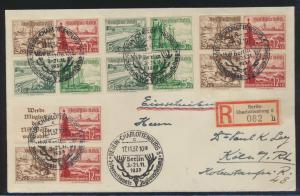 Reich Zusammendruck R Brief 5x selt. SST Berlin Jagdausstellung + 4x Viererblock